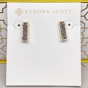 New Kendra Scott Gold Platinum Drusy Lady Stud